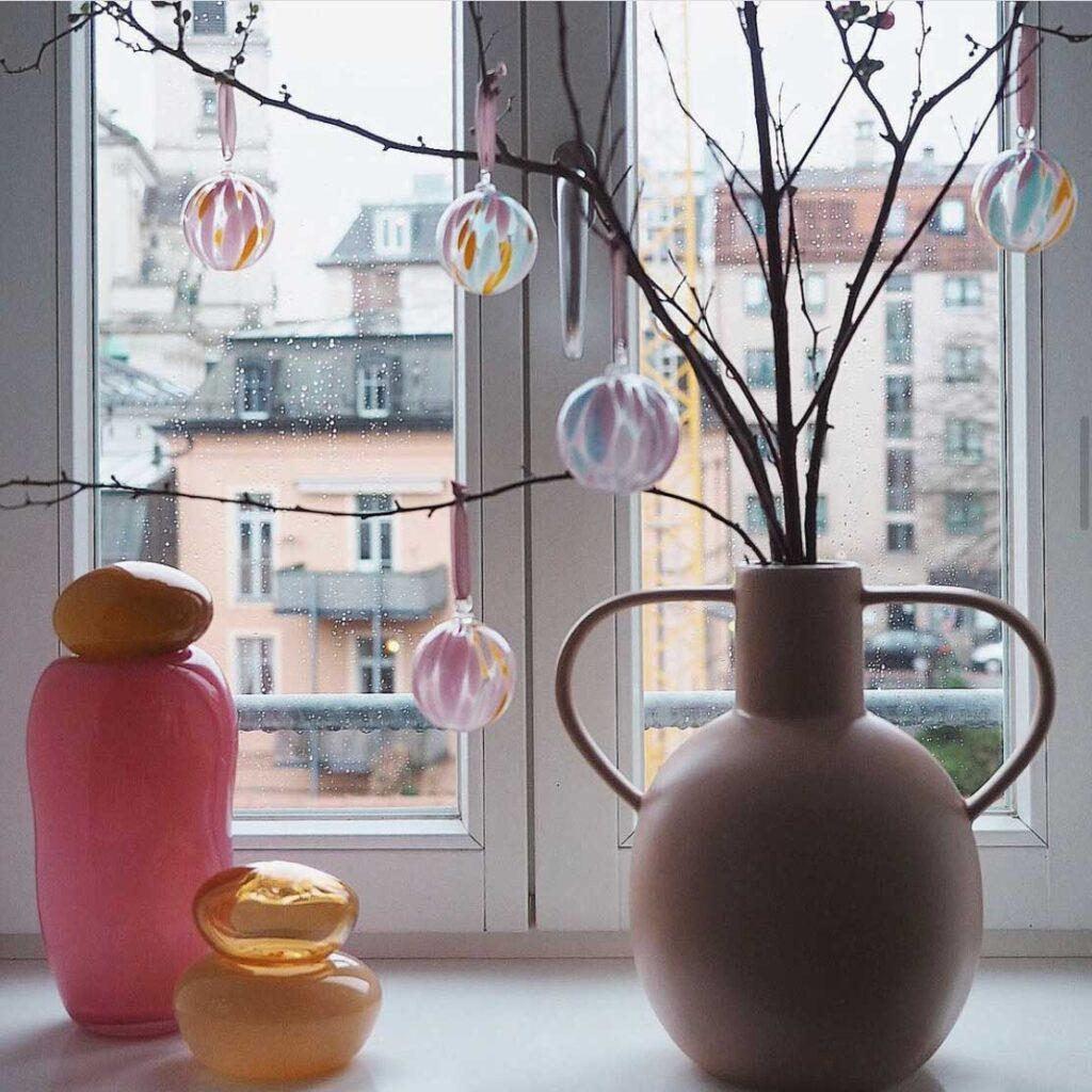 Murano - Mundblæst glaskugle - Gul/Rosa/Hvid