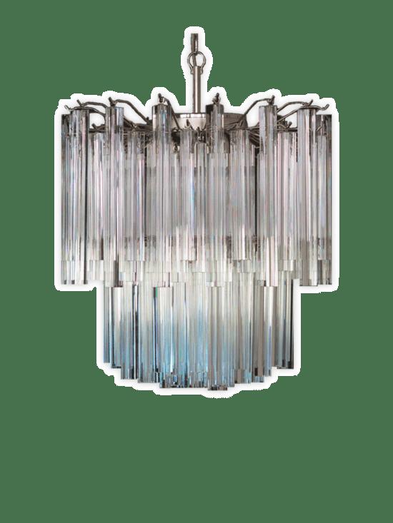 Murano ljuskrona - Arianna -107 prismer - Klar